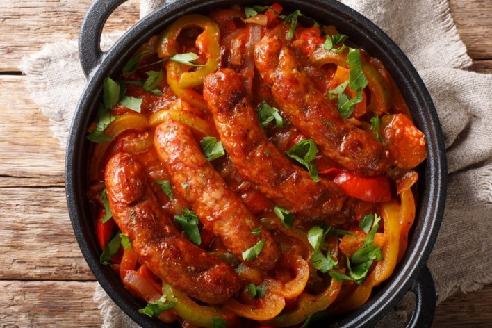Chicken Chorizo Verde Sausage with Tomatoes Peppers and Onions Recipe
