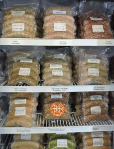 Frozen Sausages on Shelf | Gourmet Meat and Sausage