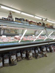 Indoor view of shop, spices, raw meat
