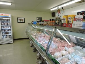 Indoor view of butcher shop
